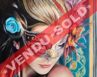 """Sold* Original OIL PAINTING on canvas - TURQUOISE 2 - 20"""" X 16"""" (51 X 41 cm) - Figurative / Realistic - Woman Venetian Mask Carnival Costume"""