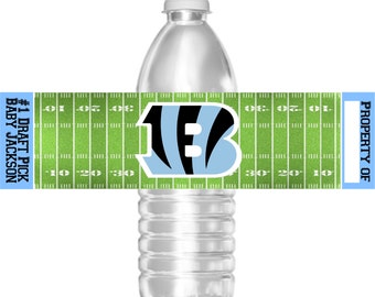 Printable Boy and Girl Cincinnati Bengals Football Birthday Party Water Bottle Labels 16.9 oz Water Party Favors Baby Shower Bar Mitzvah