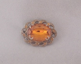 Amber Glass Art Deco Style Brooch