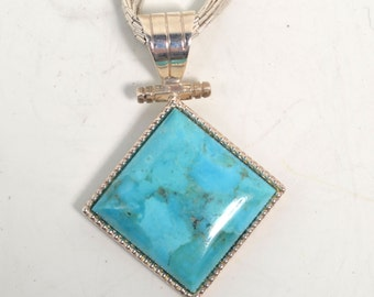 Signed Liquid Sterling Silver Necklace with Large Turquoise Pendant