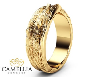 Twig Design Wedding Ring 14K Solid Yellow Gold Commitment Ring Branch Styled Wedding Band