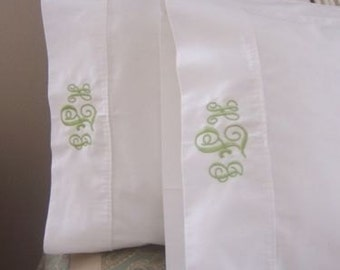 Monogrammed KING Size Pillow Cases (Pair)