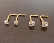 Pair 2mm or 3mm Prong Set Screws Rings Bones Nose Piercing L Shape Stainless Steel Gold Tone Titanium Comfortable Jewelry 20G or 18G