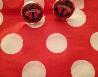 Retro Red Blue Anchor Sailor jerry Silver Stud Earrings nautical 12mm