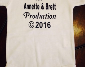 Custom made baby production name parents copyright year t shirt gender neutral boy girl pregnancy announcement shower gift unique 0 3 6 mo