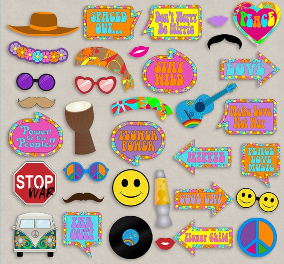 35 hippie themed party photo booth props hippy party props