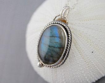 Labradorite necklace blue flash labradorite pendant necklace sterling silver necklace bezel set gemstone necklace statement necklace Ne49
