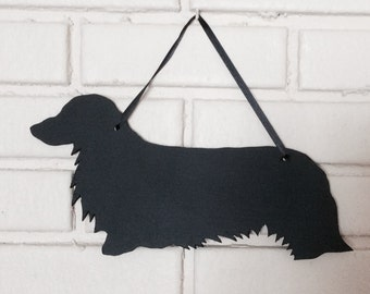 Long Hair Dachshund Handmade Long Haired Weiner Dog Wall Hanging - Chalkboard Shadow Silhouette - Country Decoration