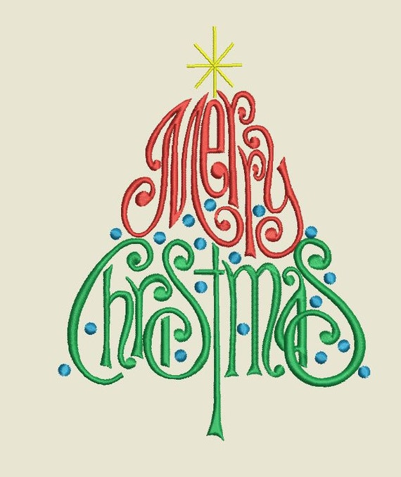 Merry christmas words tree machine embroidery files by inahoop