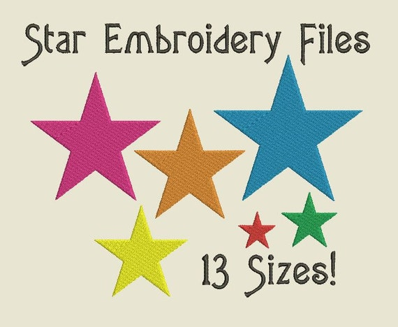 Star machine embroidery files basic shapes stars design by