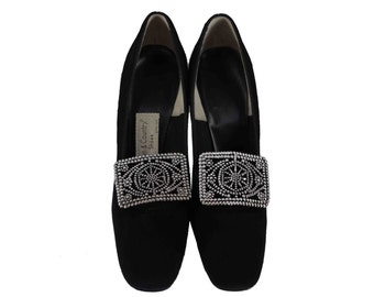 Vintage Shoes, 1960s Shoes, 60s Pumps, Black Velvet Pumps, 60s Formal Shoes, Black Velvet Heels, Witchy Shoes, Women's Size 7 1/2, Size 7.5