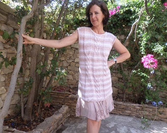 Hand knit braided tunic, short sleeved dress