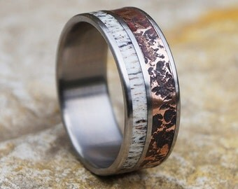Natural deer antler and hammered copper titanium band ring