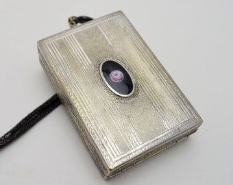 Delicate Antique Compact and Cigarette Case, Silver Plated Wristlet Dance Purse with Enamel Cameo Inset, 1920s