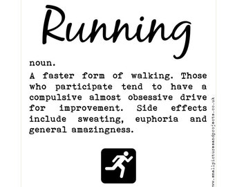Runner's Card - Dictionary definition of Running