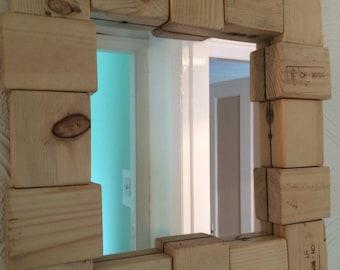 Driftwood mirror . Driftwood blocks . 45 x 47 cms