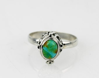 Dainty Genuine Turquoise Ring Sz 8.5 Wiccan Ring Poison Ring Pill Ri Pill Box Ring Secret Compartment Locket Ring Antique Poison Wiccan