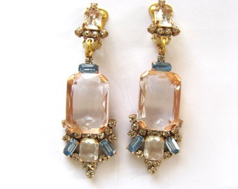 Amaizing Pink handmade rhinestone earrings clips from czech glass