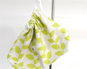 Small knitting project bag or sock bag, in vine print polycotton fabric