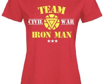t shirt civil war team iron man tony stark