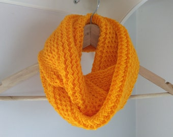 MADE TO ORDER. Infinity scarf - Cowl - Snood -Circle scarf -  Knitted. Bright yellow. Girls' scarf.
