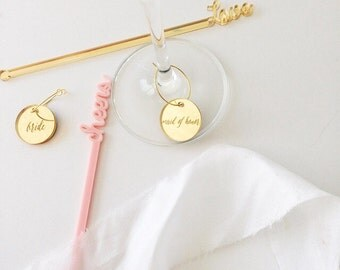 Bridal Party Wine Tags/Gift Tags/Wine Charms/Wedding Gift/Gold/Bridesmaid Gift/Maid of Honor Gift/MOB/Gifting/Cocktail/Party Decor/5PCK