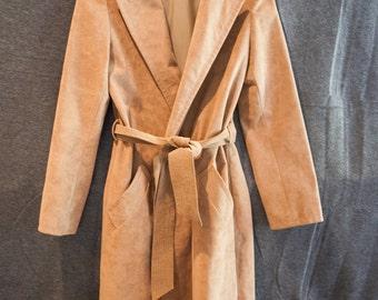 70's Tan Suede Women's Trench Jacket, Samuel Robert Trench, Ladies Suede Trench Jacket,  Ultrasuede Trench Coat, Tan Suede Coat