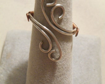 Handmade Wire Wrapped Handmade Sterling Silver & Copper Ring
