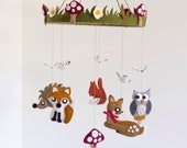 Extra large woodland nursery baby mobile featuring woodland creatures with butterflies, toadstools, grass and flowers - gender neutral