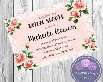 Peach Spring Flowers Bridal Shower - Bridal Shower Invitation - DIY Printable Digital File - Wedding