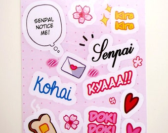 "SALE: Doki Doki Love in Spring Shoujo Animu 3x4"" Kiss Cut Sticker Sheet"