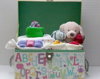 Baby Girl Gift Basket, Baby Shower Gift, Newborn Gift chest, Alphabet baby
