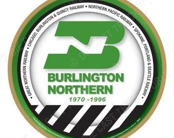 Burlington Northern Railroad Logo Wood Plaque / Sign