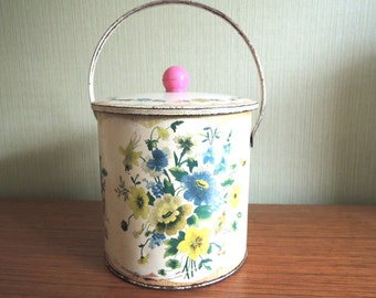 Vintage 60s Baret Ware Lovely Rustic Flower Biscuit Tin Barrel with Lid and Handle