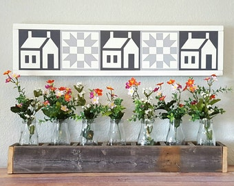 Painted Wood Quilt Squares / Blocks / Granny Squares Horizontal Wood Sign