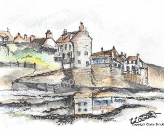 Robin Hood's Bay, Yorkshire Coast - Giclee Print of Original Watercolour and Pen Drawing by English Artist Claire Strickland