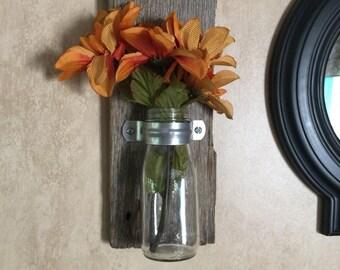 Barnwood wall vase set  Reclaimed wood rustic decor