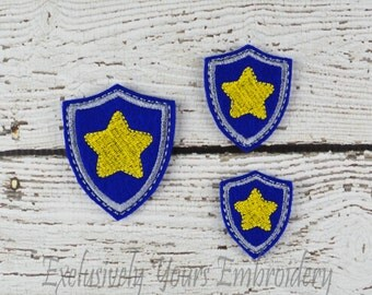 Star Shield Feltie Set of 4 - Hair Bow Supplies - Badge Reel Cover - Craft Supply - Scrapbooking - Card Making - Planner Clip