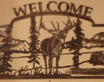 Welcome - Elk and Mountain scene sign