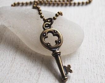 Skeleton Key Charm Necklace, Antique Brass Key Necklace, Minimal Key Pendant, Antique Key Pendant, Simple Key Charm Necklace