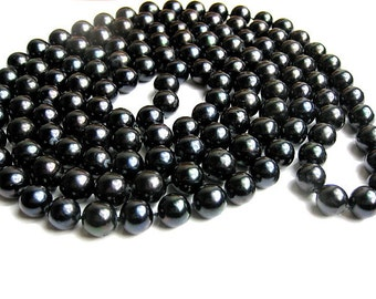 "49"" Long 9.5mm AAA- Pure Black Freshwater Pearl Rope Necklace -nk102"