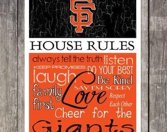 San Francisco Giants House Rules 4x4.1/2 Fridge Magnet