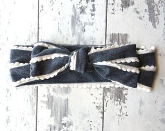 Heather Grey Scalloped Knotted Headband