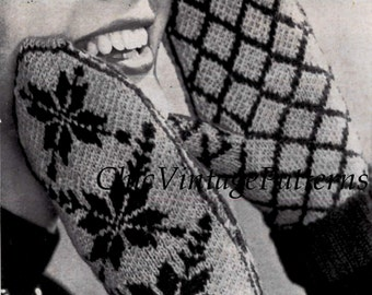 Ladies Fair Isle Mittens ... 1950's Knitted Norwegian Mittens ... PDF Knitting Pattern ... Warm, Cosy Mitts ... Instant Download Pattern