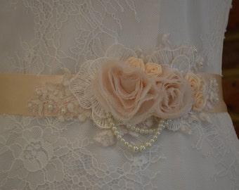 Beautifully detailed, handmade floral bridal sash.