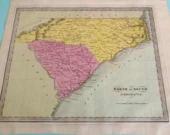 Antique Map of the Carolinas North South Carolina 1836 David H. Burr Free Shipping