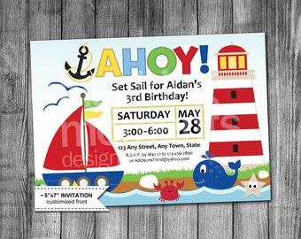 Nautical Birthday Invitation | Sailboat | Lighthouse | Beach | Shells | Anchor | Whale | Starfish | Boy | 5x7 | Printable Invitation |