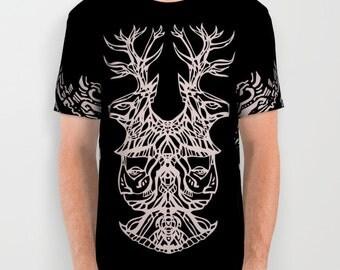 Twin Deer Dancer all over print T-shirt Black and White Original Design by Israel Haros