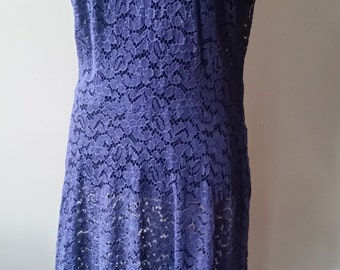 Vintage Scoop Neck Navy Lace Dress