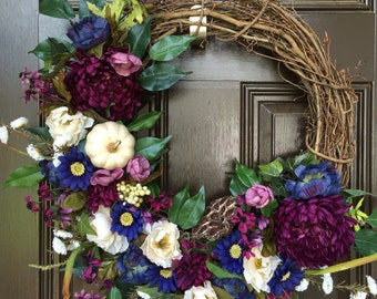 Deep purple fall wreath, floral fall wreath, harvest, pumpkin, autumn